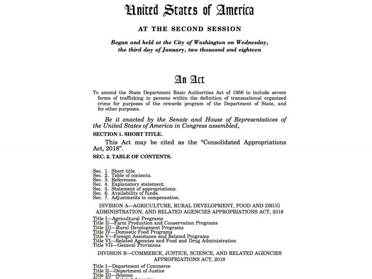 "2018 H.R. 1625, ""Consolidated Appropriations Act, 2018"", page 1"