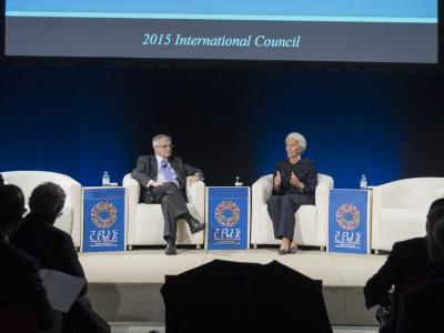 Christine Lagarde and Jean-Claude Trichet at the 2015 International Council in Lima, Peru