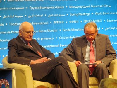 Paul Volcker and William Rhodes at the 2017 Bretton Woods Committee Annual Meeting