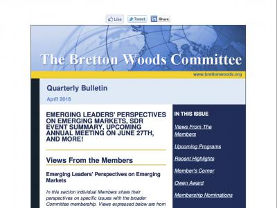 The Bretton Woods Committee Quarterly Newsletter, April 2016 (cover)