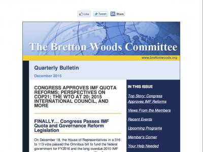 The Bretton Woods Committee Quarterly Newsletter, December 2015 (cover)