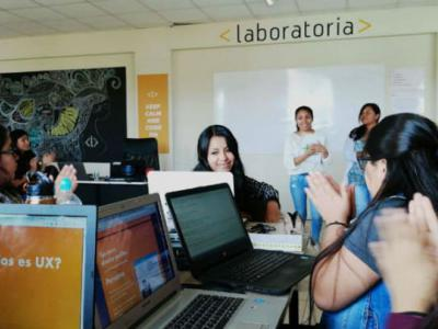 Students of Laboratoria, a Peru-based nonprofit that trains young women from low-income backgrounds to become software developers in the tech sector. Photo by: Laboratoria